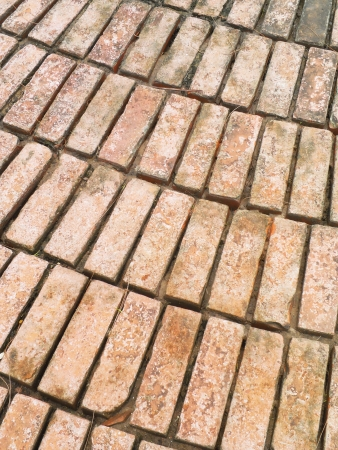 Old dirty brick pattern walkway photo