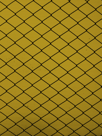 netty: Steel grid on a yellow background