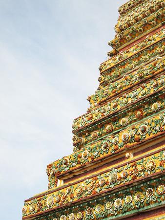 Authentic Thai Architecture (Pagoda ceramic decoration) in Wat Pho ,Bangkok,Thailand , Wat Pho, Bangkok