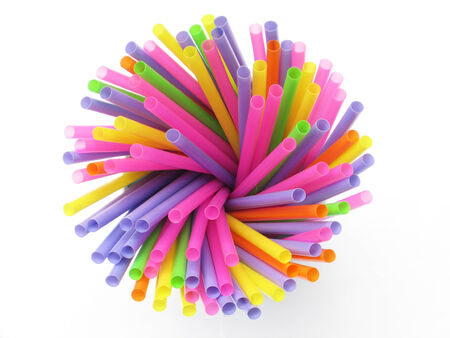 dirty straws on a white background photo