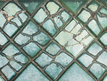 Cracked blue tile in Wat Pho temple , Bangkok Thailand photo