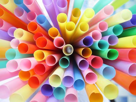 Colorful drinking straws background Stockfoto