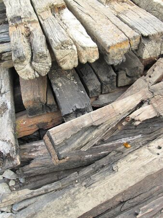 cross ties: pile of old railroad ties makes a vintage wooden background