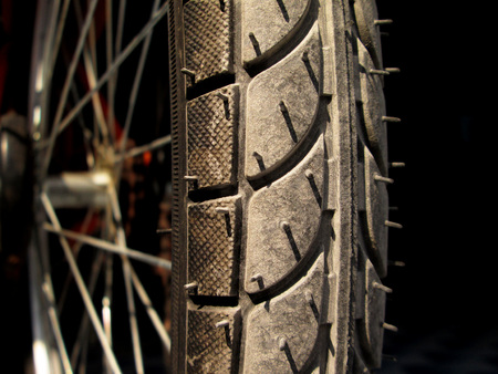 tyre tread: Bicycle tyre tread close-up