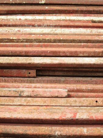 on rebar: Rusty rebar steel used in construction background texture Stock Photo