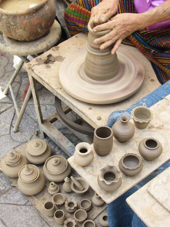 Handmade pottery factory in Thailand photo