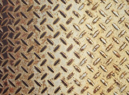 diamondplate: Background of old metal diamond plate in brown color Stock Photo