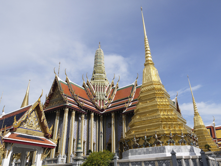 single story: Wat Phra Kaew, Temple of the Emerald Buddha, Bangkok, Thailand Stock Photo