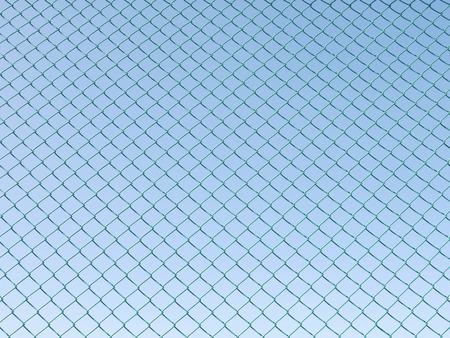 enclose: Green seamless fence chain, Iron wire fence on blue sky background