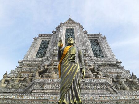 derives: BANGKOK, THAILAND - MAR 25: Buddha statue at Wat Arun (Temple of Dawn) on March 25, 2012. Temple derives name from the Hindu god Aruna, personified as the radiations of the rising sun.