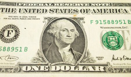 banknote uncirculated: UNITED STATES, CIRCA 2001: George Washington on 1 Dollar 2001 Banknote. Commander of the continental army in the American revolutionary war during 1775-1783 and first president during 1789-1797 Editorial