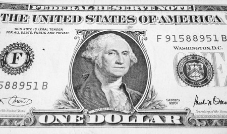 unc: UNITED STATES CIRCA 2001: George Washington on 1 Dollar 2001 Banknote. Commander of the continental army in the American revolutionary war during 1775-1783 and first president during 1789-1797
