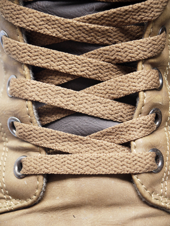 figure skate: Closeup of a figure skate, showing laces in detail Stock Photo