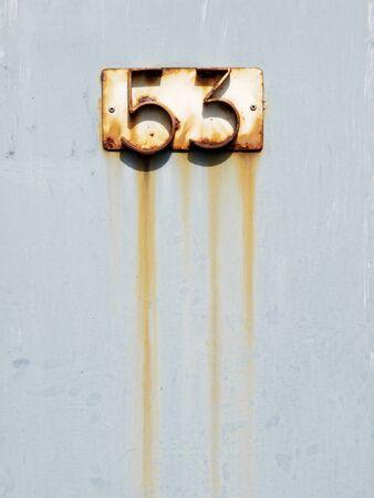 steel door: Numbers on a steel door
