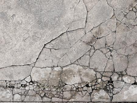 pared rota: Textura agrietada de hormigón de fondo de cerca