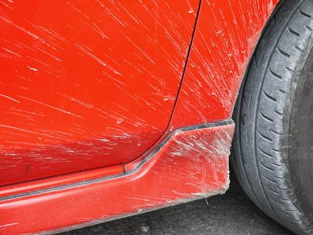 dirty car: dirty red car