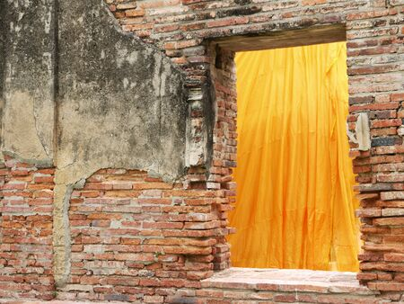 Ancient window and wall of temple,Thailand
