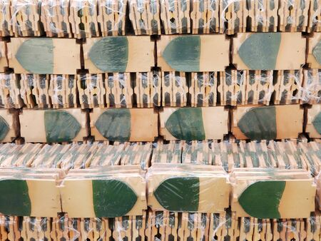stored: stack of roof tiles, waving tiles, stock pile, stored, cross section