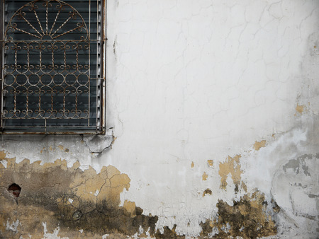 crack pipe: Old house wall Stock Photo