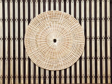 basketry: Half-Circled Rattan Mat Stock Photo