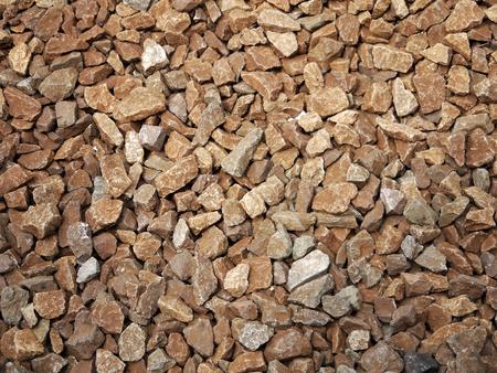 ballast: Rail road track ballast stone gravel close-up as background Stock Photo