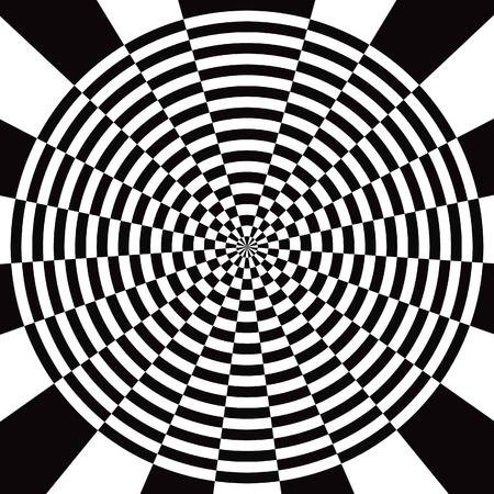eyestrain: circle black and white checkered abstract background Stock Photo