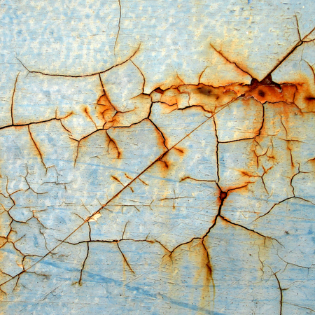 peeling paint: abstract corroded colorful wallpaper grunge background iron rusty artistic wall peeling paint Stock Photo