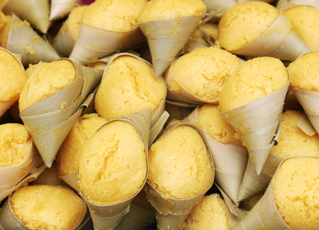 Candy Thailand Steamed sugar palm cake with coconut Stock Photo