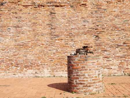 Grunge brick wall on pillar