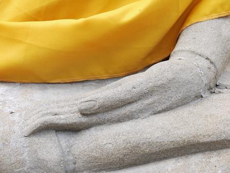 ayuttaya: Buddha hand in Wat Yai Chai Mongkol- Ayuttaya of Thailand