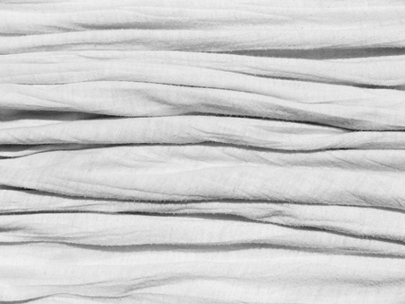 pleat: Crumpled white fabric cloth texture