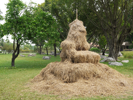 Pile of straw by product from rice field after collecting season