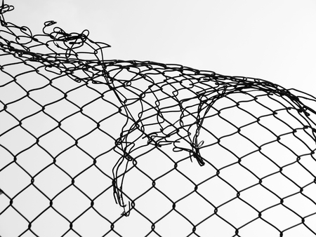 wire mesh: damage wire mesh Stock Photo