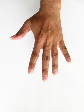 hand showing five count Stock Photo