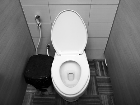 poorly: Flushing the toilet in black and white Stock Photo