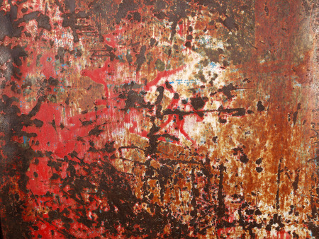 rust red: red paint metal with rust