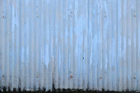 zinc: Old damage rusty blue zinc plat wall Stock Photo