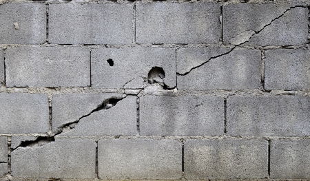 foundation cracks: broken block cement wall Stock Photo