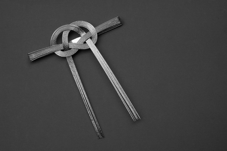 silver ribbon: decorative Japanese cord made from silver ribbon