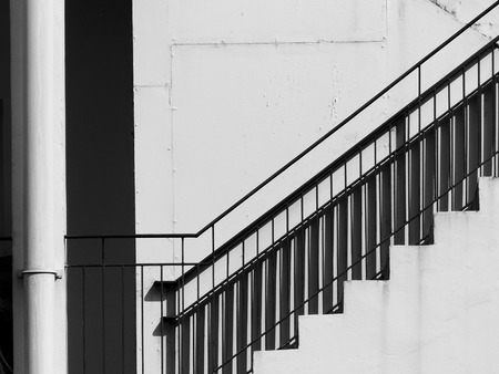 sidewall: A staircase on the external wall of an urban building Stock Photo
