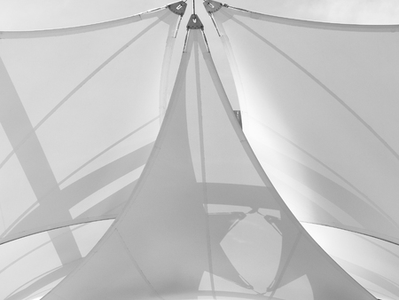 roof structure: fabric tensile roof structure Stock Photo