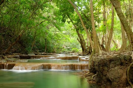 kanchanaburi: Erawan Waterfall in Kanchanaburi Province, Thailand Deep forest Waterfall