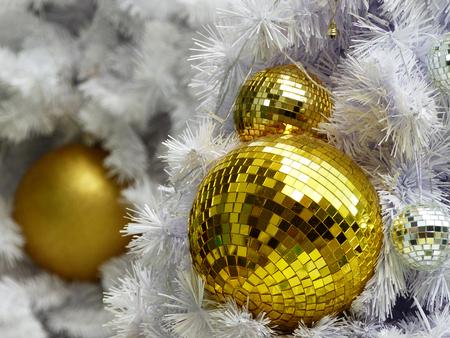 gold ball on the christmas tree