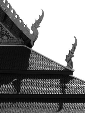 black and white temple roof with shadow Stock Photo