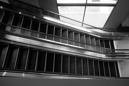 grey pattern: black and white escalator with light and shadow