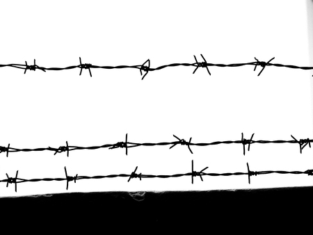 iron: silhouette of the barbed wire Stock Photo