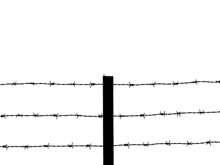 rope barrier: barbed wire silhouette on white background
