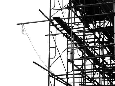 silhouette scaffolding elements black and white Stock Photo