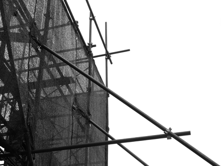 clamped: silhouette scaffolding Elements black and white