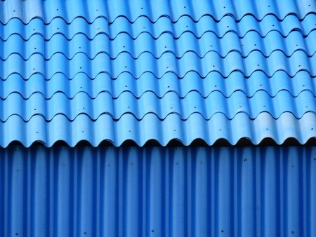 blue tile roof with zinc wall texture background